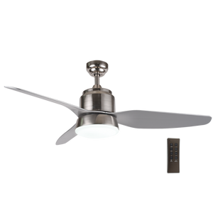 Load image into Gallery viewer, BRIGHT STAR - SATIN CHROME 3 BLADE CEILING FAN/LIGHT