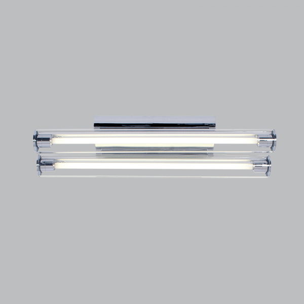 BRIGHT STAR - CHROME SILVER PLASTIC GLASS COVER T5 FLUORESCENT TUBES 2X14W (FTL622 CHROME)