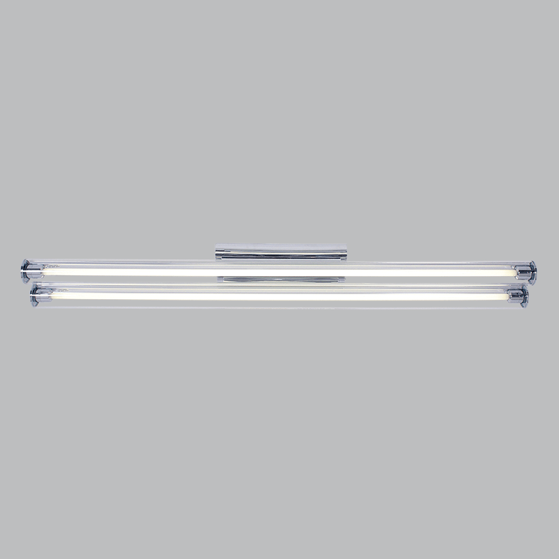 BRIGHT STAR - CHROME SILVER PLASTIC GLASS COVER T5 FLUORESCENT TUBES 2X28W (FTL623 CHROME)