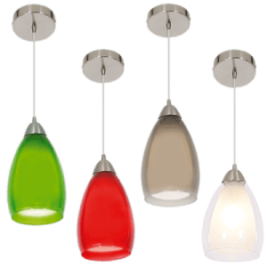 BRIGHT STAR - GREEN/RED/SMOKE/WHITE CHROME PENDANT 60W (PEN044)