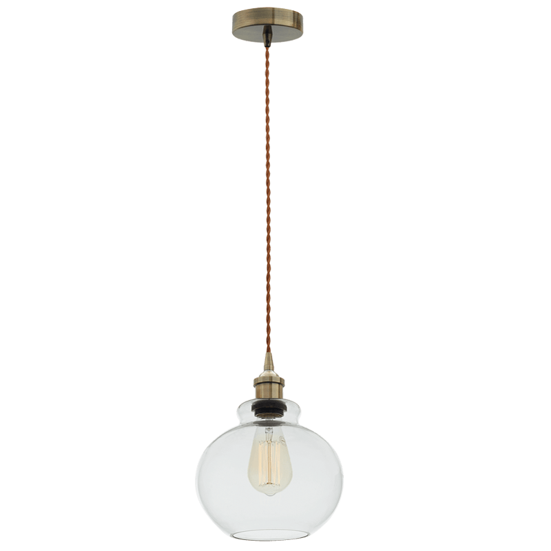 BRIGHT STAR - ANTIQUE BRONZE CORD CLEAR GLASS PENDANT 40W (PEN537 CLEAR)
