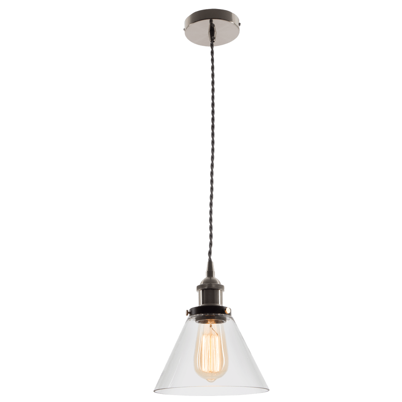 BRIGHT STAR - SATIN NICKEL CLEAR GLASS PENDANT 60W (PEN576 SATIN)