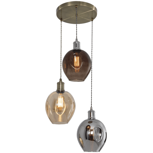 BRIGHT STAR - ANTIQUE BRASS COLOUR GLASS PENDANT 3X60W (PEN613 ANTIQUE BRASS)