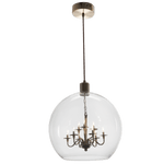 BRIGHT STAR - SATIN BRASS CLEAR GLASS PENDANT/CHANDELIER 9X10W (PEN625/9 CLEAR)