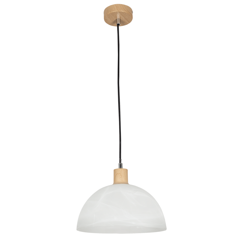 BRIGHT STAR - ALABASTER GLASS WOOD FINISH CORD PENDANT 60W (PEN686 ALABASTER)