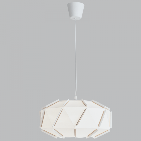 BRIGHT STAR - WHITE PLASTIC/FABRIC PENDANT 11W (PEN804 WHITE)