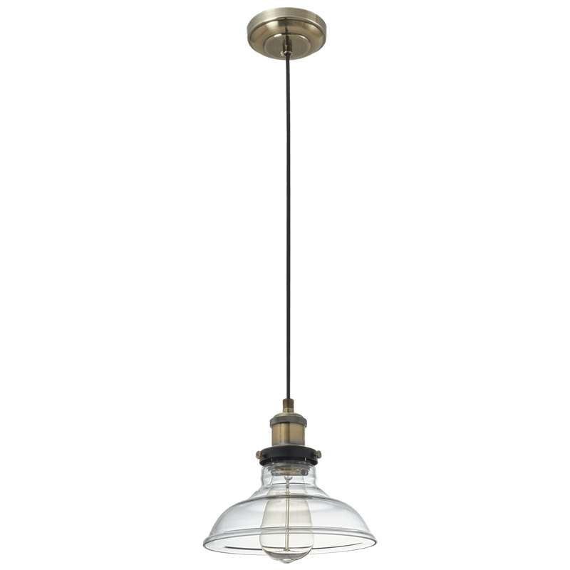 BRIGHT STAR - ANTIQUE BRASS CLEAR GLASS PENDANT 60W (PEN919 CLEAR)