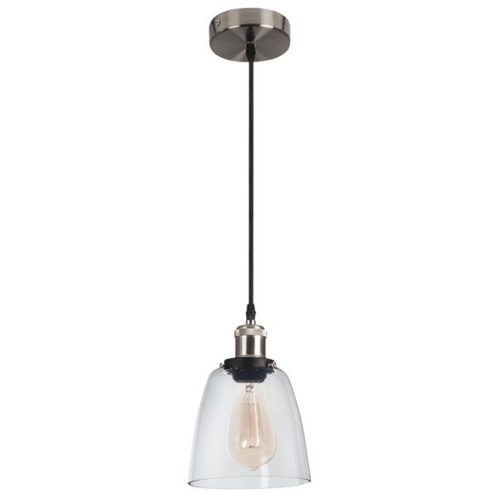 BRIGHT STAR - SATIN CHROME CLEAR GLASS PENDANT 40W (PEN921 SATIN)