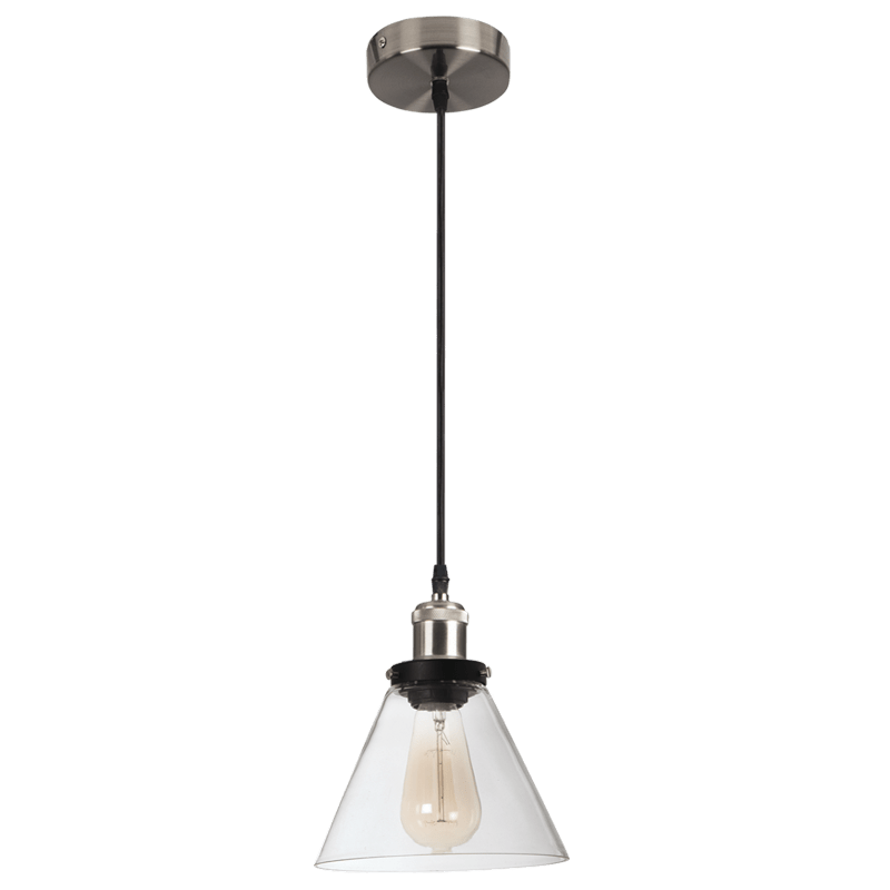 BRIGHT STAR - SATIN CHROME CLEAR GLASS PENDANT 40W (PEN922 SATIN)