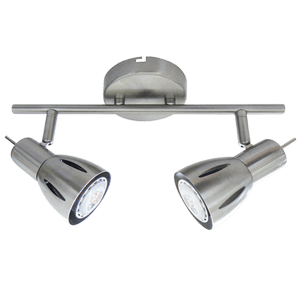 BRIGHT STAR - SATIN CHROME 2 LIGHT SPOTLIGHT 2X50W (S157/2 SATIN)