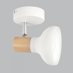 BRIGHT STAR - WHITE WOOD FINISH SINGLE SPOTLIGHT 40W (S401/1 WHITE)