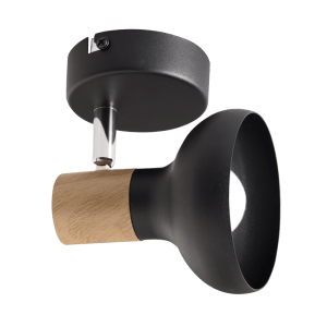 BRIGHT STAR - BLACK WOOD FINISH SINGLE SPOTLIGHT