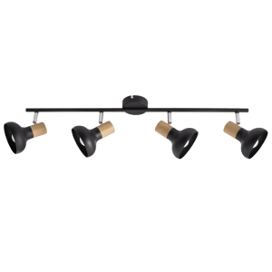 BRIGHT STAR - BLACK WOOD FINISH QUADRUPLE SPOTLIGHT