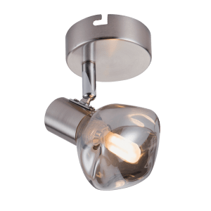 BRIGHT STAR - CHROME SMOKE GLASS SINGLE SPOTLIGHT 5W (S404/1 SMOKE)