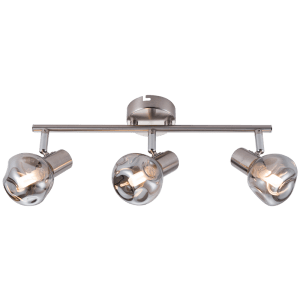 BRIGHT STAR - CHROME SMOKE GLASS 3 LIGHT SPOTLIGHT 3X5W (S404/3 SMOKE)