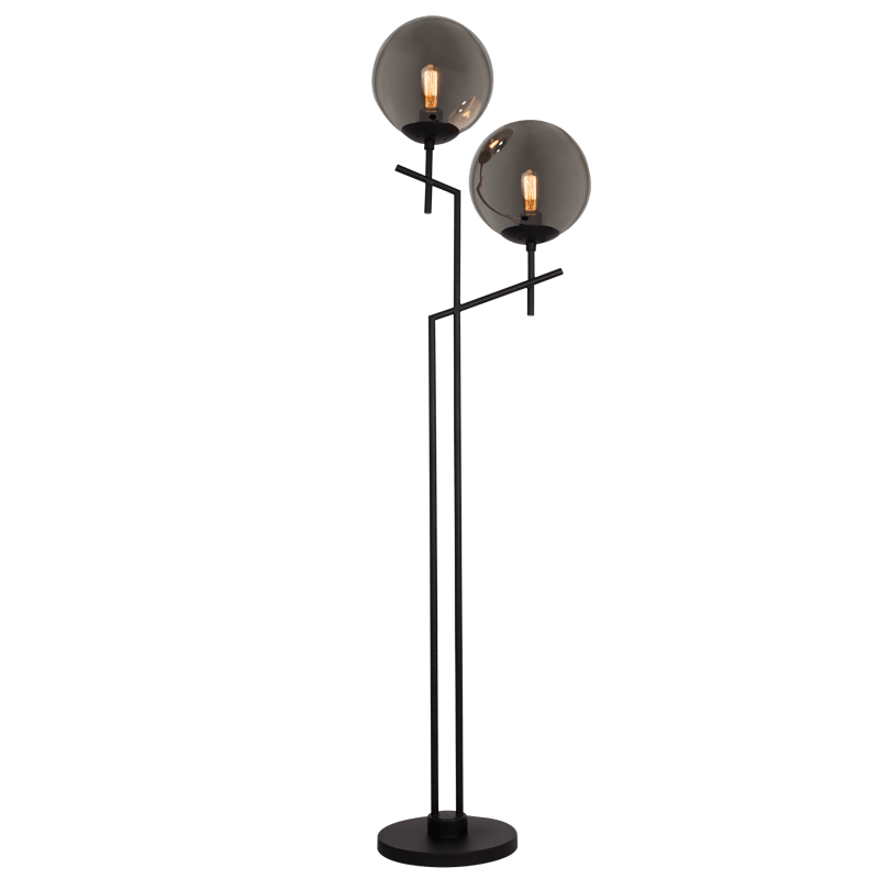 BRIGHT STAR - BLACK SMOKE GLASS FLOOR LAMP