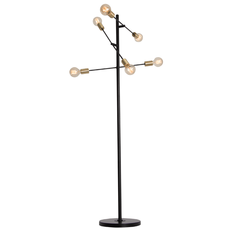 BRIGHT STAR - BLACK FLOOR LAMP 6X40W (SL080 BLACK)