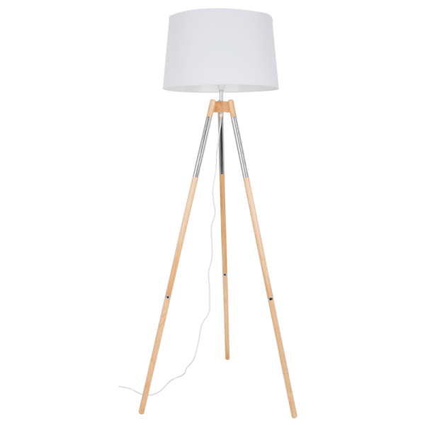 BRIGHT STAR - CHROME WOOD STANDING LAMP 60W (SL084 CHROME)