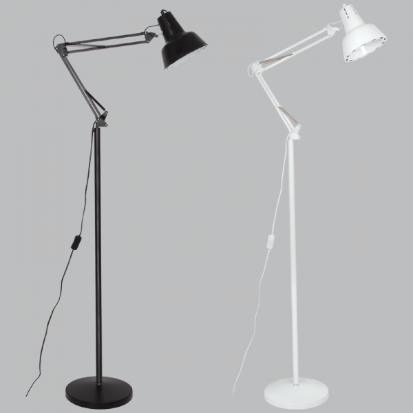 BRIGHT STAR - BLACK/WHITE FLOOR LAMP MOVABLE ARMS