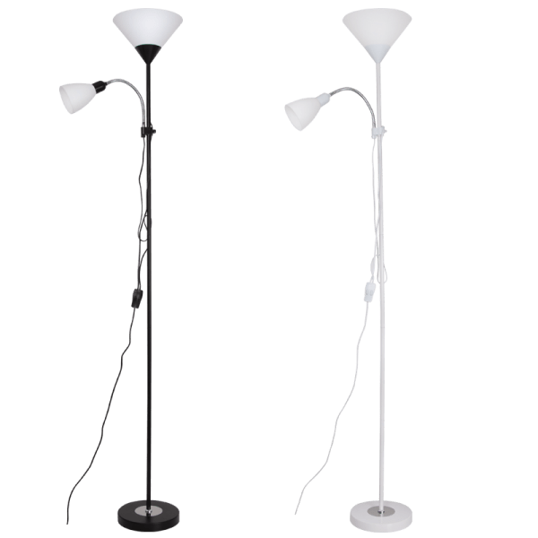 BRIGHT STAR - BLACK/WHITE FLOOR LAMP 40W+60W (SL087)