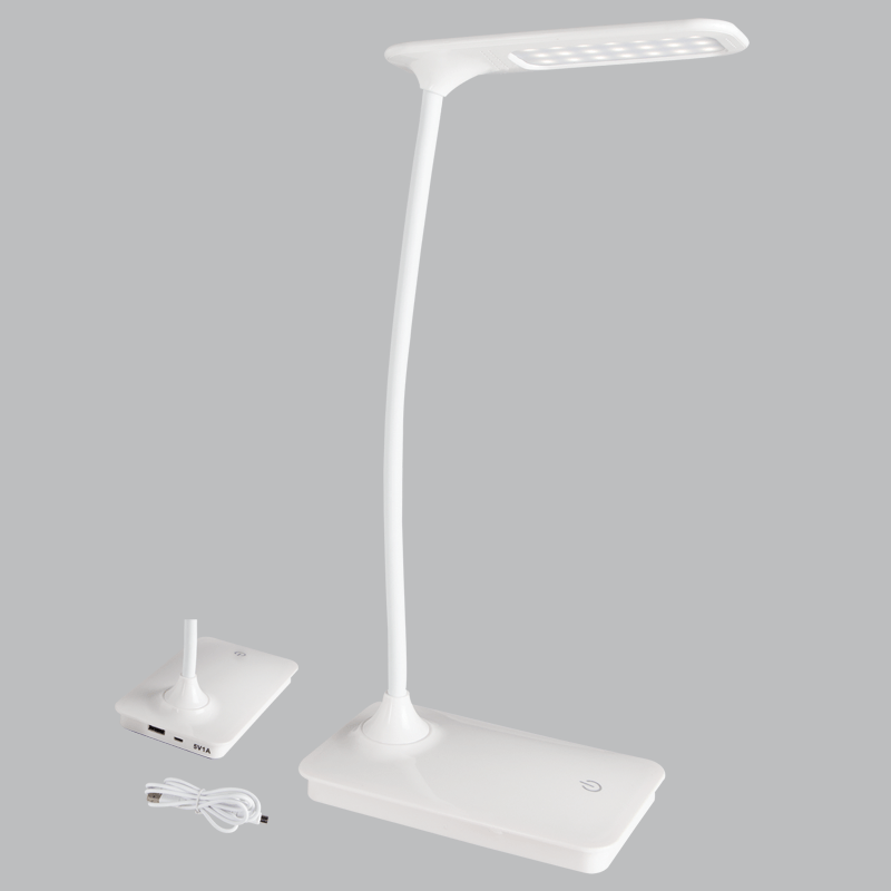 BRIGHT STAR - WHITE ABS DESK LAMP FLEXI ARM
