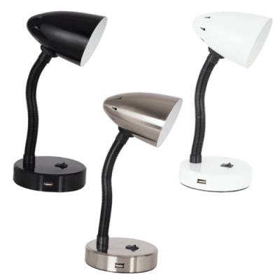 BRIGHT STAR - BLACK/SATIN/WHITE DESK LAMP