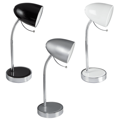 BRIGHT STAR - BLACK/SILVER/WHITE CHROME DESK LAMP