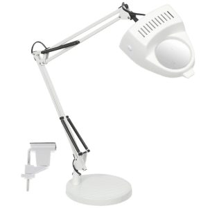 BRIGHT STAR - BLACK/WHITE DESK LAMP 3X MAGNIFIER