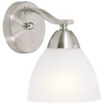 BRIGHT STAR - SATIN CHROME FROSTED GLASS WALL FITTING