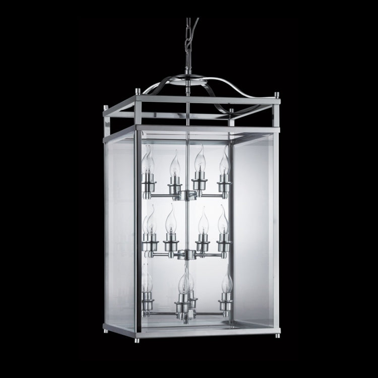 Load image into Gallery viewer, K. LIGHT - XL CHROME SQUARE GLASS LANTERN 12X40W (B-KLCH-8008-CH)