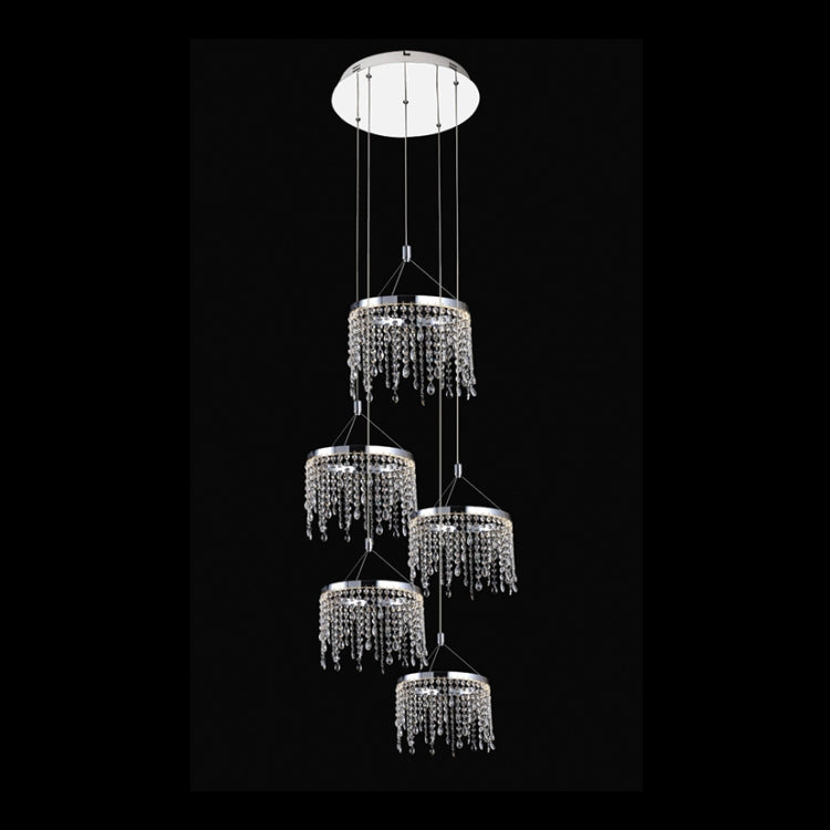 Load image into Gallery viewer, K. LIGHT - 5 RING CRYSTAL DROP DOUBLE VOLUME CHANDELIER 5X7.5W 3000K (K-LED4403-5R)