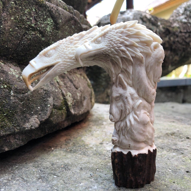 Native American Eagle Bear Wolf Cane Handle