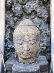 Distressed Buddha Head Garden Statue