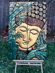 Gold Green Bamboo Folding Buddha Tranquility Panel (L)