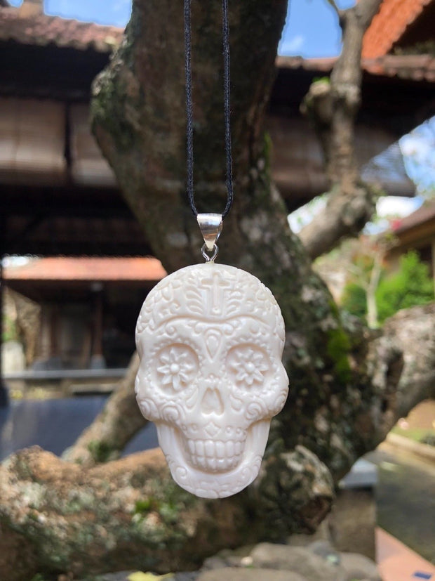 Day of the Dead Skull Cross Bone Necklace