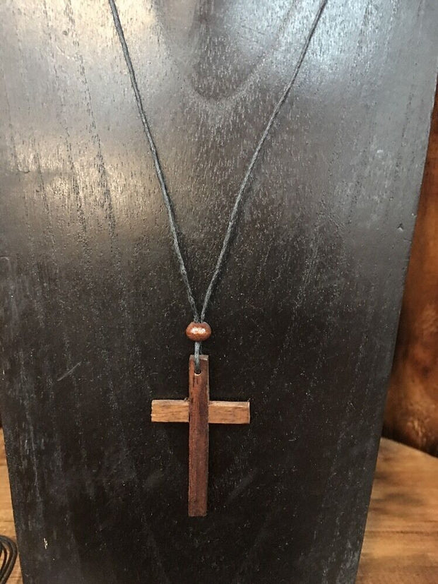 NEW BROWN WOODEN STRAIGHT CUT CROSS PENDANT W ADJUSTABLE LEATHER NECKLACE