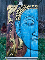Blue Fire Folding Buddha Tranquility Panel (XL)