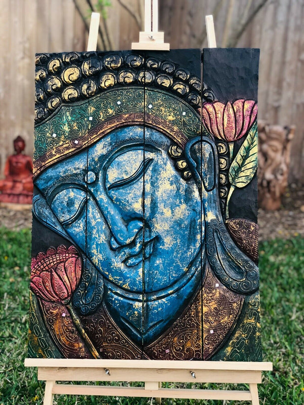 Folding Blue Buddha Dual Lotus Tranquility Panel (M)