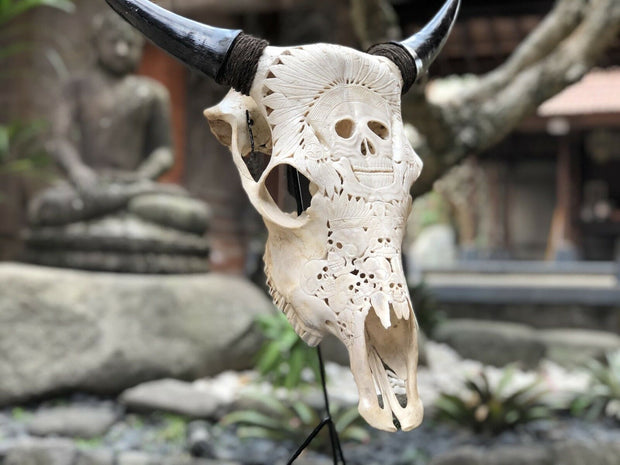 Native American Chief of Death Cow Skull
