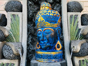 Blue Gold Foil Buddha Head On Stand (XL)