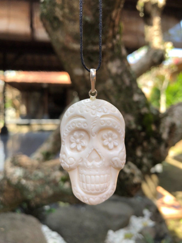 Day of the Dead Skull Flower Bone Necklace