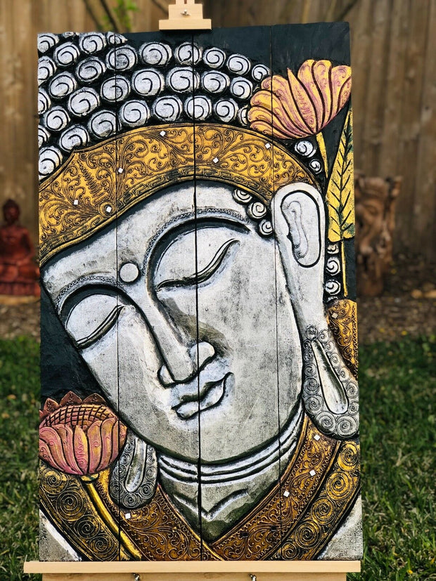 Silver Gold Folding Buddha Tranquility Panel (XL)