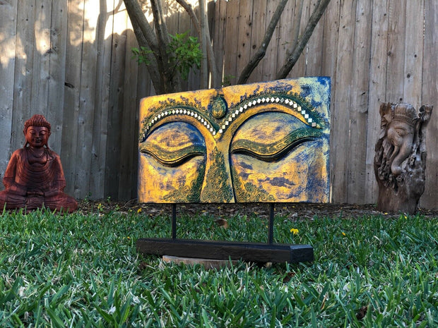 Multicolored Foil Buddha Eyes Plaque (L)