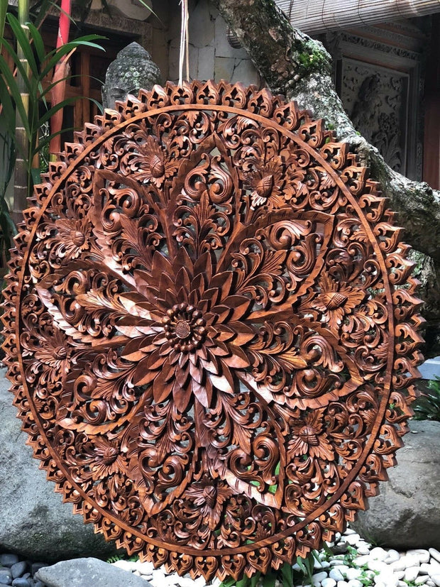 Round Wood Floral Relief Panel (XL)