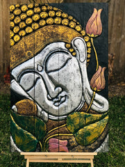 Silver Gold Leaf Folding Buddha Tranquility Panel (L)