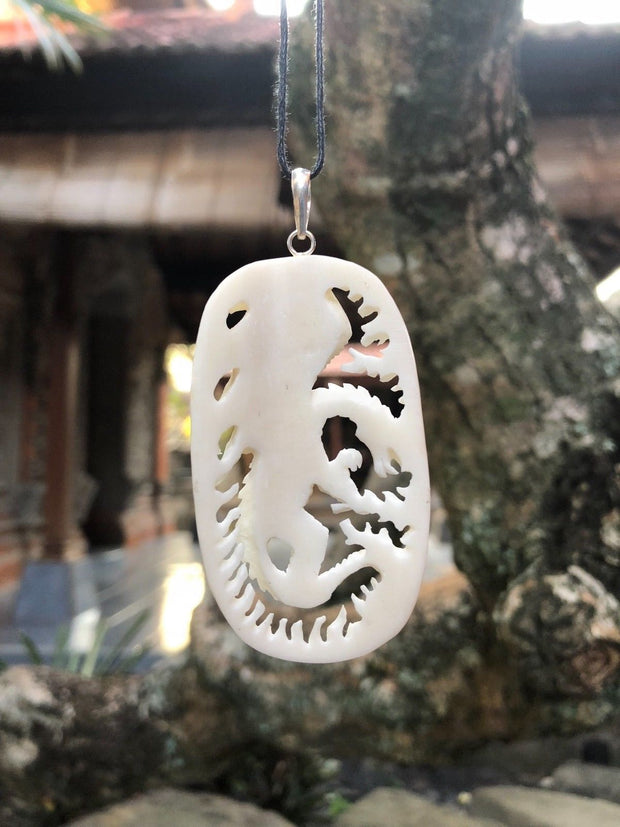 Burning Dragon Ring of Fire Bone Necklace