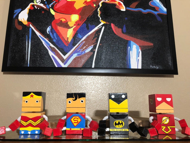 Justice League Square Wooden Puppets SET (4 Pcs)