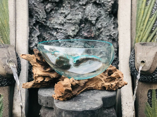 Hand Blown Glass & Reclaimed Teak Bowl (XL)