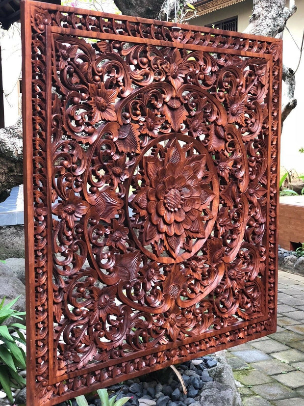 Square Wood Floral Relief Panel (XL)