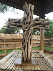 Driftwood Cross on Stand (L)
